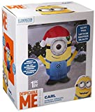 Gemmy Airblown Inflatable Carl the Minion Wearing a Santa Hat - Holiday Yard Decorations, 3.5-foot Tall