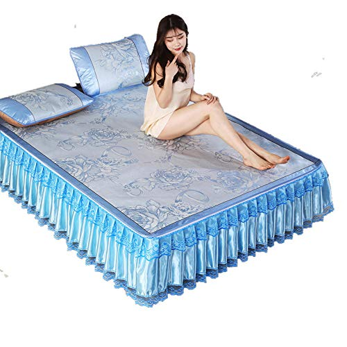 Zlzty Zomer ijs zijden bed jurk driedelige kant jacquard air conditioning mat anti-slip ijs zijde, enkele dekbedovertrek, kingsize dekbedovertrek, enkel beddengoed