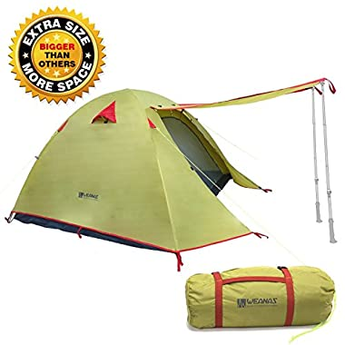 Weanas Professional Backpacking Tent 2 3 4 Person 3 Season Weatherproof Double Layer Large Space Aluminum Rod for Outdoor Family Camping Hunting Hiking Adventure Travel (Green, 3-4 Person)