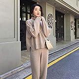 ZYH994 Autumn Spring Knit Sportswear Sweatshirt mit hohem Kragen Damenanzug Kleidung 2 Sätze Strickhosen Hosenanzug, Einheitsgrösse