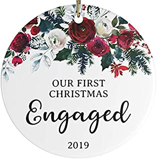 Our First Christmas Engaged 2019 Christmas Tree Ornament She Said Yes Ornament Just Engaged Engagement Gift Future Husband Wife Modern Flower Floral Rose Newly Engaged Couple