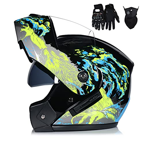 HVW Casco de Motocicleta, Aprobado por Dot/ECE Casco de Motocicleta abatible Crash Casco Integral Modular con máscara de Guantes Visera Solar Doble Casco de Motocross Frontal abatible,A,S55to56cm