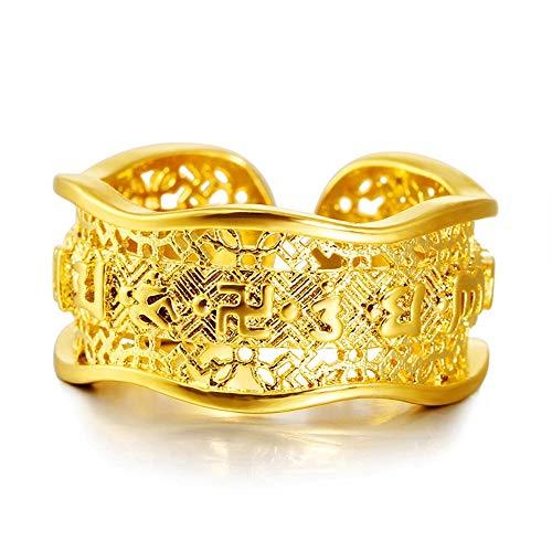 Keai open ring voor heren, 24 karaats goud, geslepen zes woorden, echte Bully ring