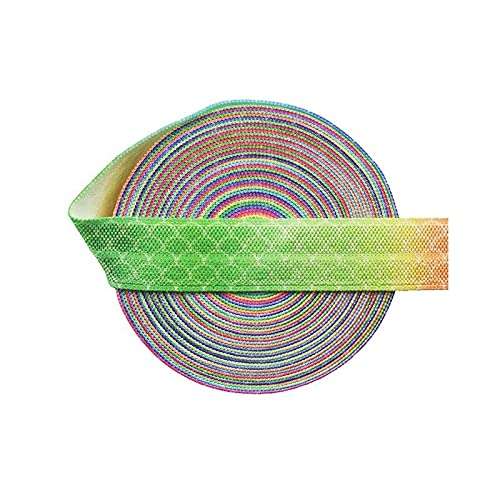 OHLIDI - 10 Yard 5/8' 15mm Rainbow Mermaid Scale Print Foldover Elastic Spandex Satin Band Tape Hair Tie Sewing Trim for Sewing DIY Apparel Wedding Party Gift Sewing Accessories