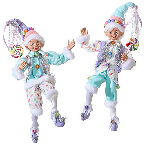 Set of 2 Raz 16' Pastel Candy Posable Elf Christmas Figure 3902252