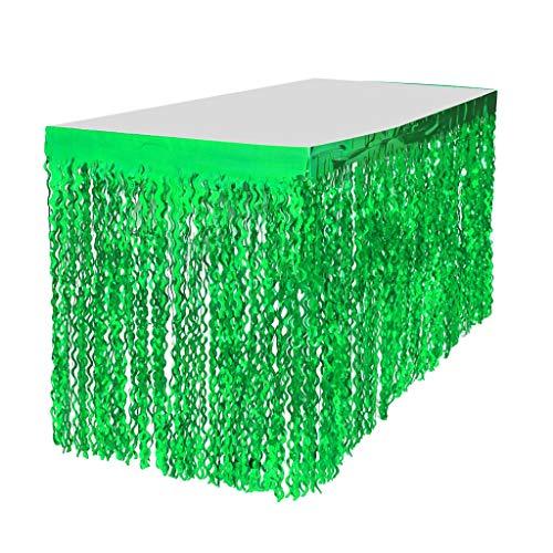 LOVIVER Metallische Folie Fransen Tischrock Banner Lametta Tischdecke für jeden Anlass - Grün