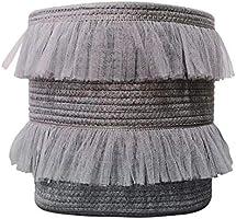 ILOVA Beautiful Lace Storage Basket Grey Set of 2 Toy Storage Decorative Cotton Rope Basket Baby Toy Basket Nursery...