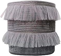 ILOVA Beautiful Lace Storage Basket Grey Set of 2 Toy Storage Decorative Cotton Rope Basket Baby Toy Basket Nursery Storag...