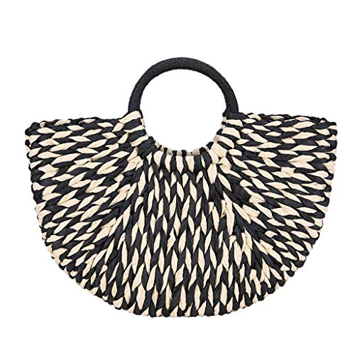 COZOCO Frauen Sommer Handtasche Stroh Tasche Damen Handtasche Casual Beach gewebt Handtasche Leinen zwei Griffe Totes(schwarz,)