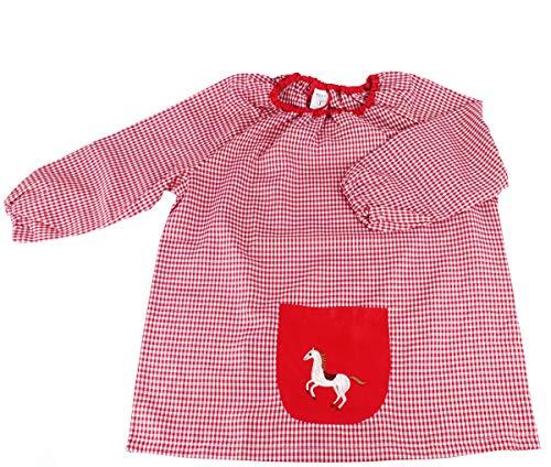 MASMAS Baby Infantil de Cuadros, Babi Poncho sin Botones Conjunto de Uniforme Colegial para Bebe, niños y niñas,Bata Escolar Unisex (Rojo, 0)