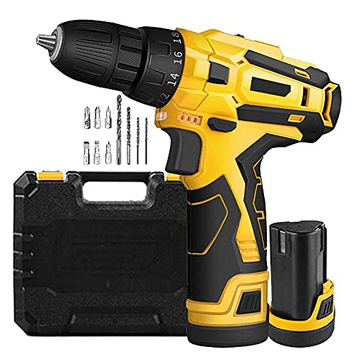 COUYY Portable hand drill 10.8V multi-function wireless screwdriver, with 10 accessories, 2 lithium ion batteries 1.5Ah 18 + 1 electric screwdriver 25Nm LED light