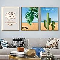 キャンバスプリント絵画壁アート油絵プリント砂漠海辺サボテン写真ポスターリビングルーム家の装飾-(50X70cm)X3フレームなし