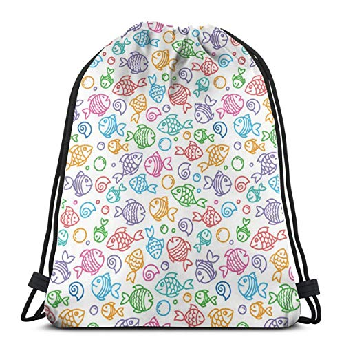 Drawstring Tote Bag Gym Bags Storage Backpack, Colorful Doodle Style Fish Figures with Happy Faces and Bubbles Under The Sea Aquarium,Very Strong Premium Quality Gym Bag for Adults & Children