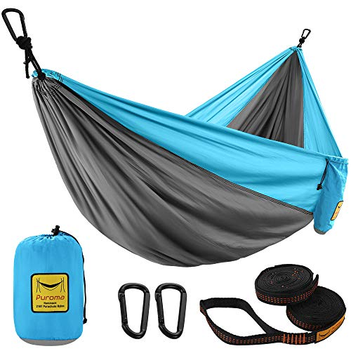 Puroma Camping Hammock Single & Double Portable Hammock Ultralight Nylon Parachute Hammocks with 2 Hanging Straps for Backpacking, Travel, Beach, Camping, Hiking (Grey & Sky Blue, Small)