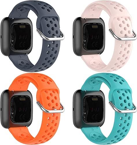 Classicase Cinturino per Orologio in Silicone Caucciù Impermeabile compatibile con Fitbit Versa 2 / Versa 2 SE/Versa Lite/Versa smartwatch - Cinturini per Orologi (4-Pack J)
