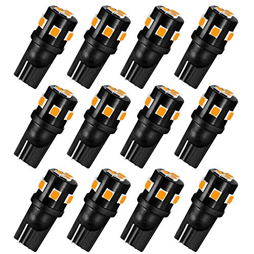 AUXLIGHT 194 168 2825 T10 LED Interior Light Bulbs Amber Yellow, Super Bright Replacement for Dome Map Door Trunk Courtesy License Plate Sidemarker Parking RV Camper Lights (Pack of 12)