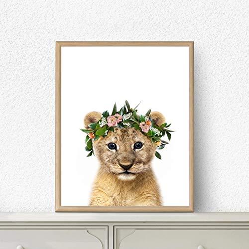 Baby Lion Poster Print Blume Kronen Kranz Kinderzimmer Tiere Wandkunst Leinwand Malerei Safari Tierbild Mädchen Zimmer Wanddekoration Kunstplakat Muttertagsgeschenk 20x24 Zoll Rahmenlos