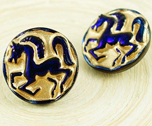 1pc-Matte Gold-Waschen Sie Dunkle Glänzende Blaue Pferd Tier Runde Handgemachte Tschechische Glas-Knöpfe Größe 10 23mm