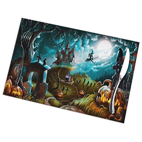 Halloween Witch Castle Moon Pumpkin Placemats Set of 6 Heat-Resistant Washable Table Non-Slip Place Mat for Dining Table 12 x 18 Inches