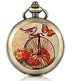 Infinito U Retro Bicicleta Mariposa pájaro Foto medallón Cuerda Manual mecánica Reloj de Bolsillo Esfera Negra Esqueleto Reloj Jersey Collar, Ambos Cadenas