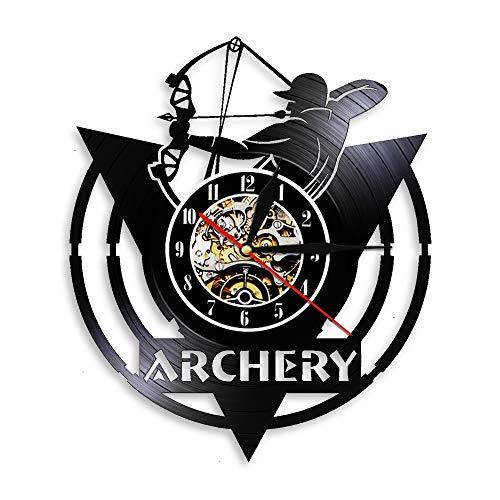 Rgzqrq Archery Club Reloj de Pared Reloj de Pared con Registro de Vinilo 3D Archer Coach Diseño Moderno 7 Colores Reloj Colgante Vintage Iluminación LED 30x30cm
