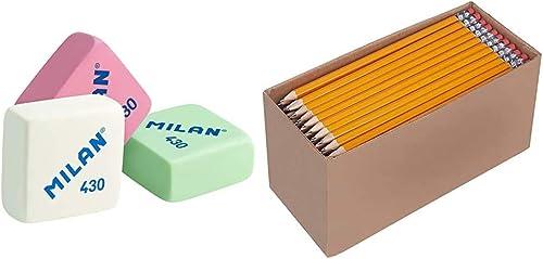 Milan 430 - Caja de 30 gomas de borrar, miga de pan + Amazon Basics - Lápices n.º2 HB de madera, afilados, Pack de 150