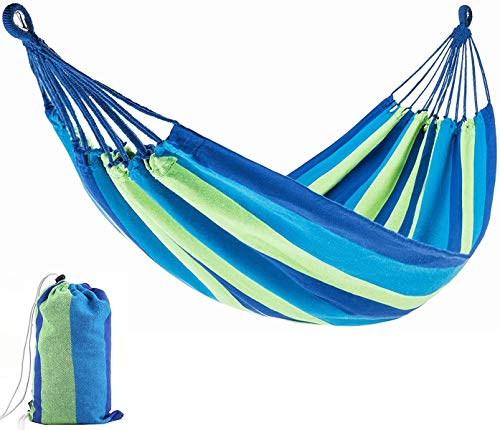 240 x 150 cm Camping Hammock, 40CM Wooden Rods+ tie rope + storage bag, Thickened Durable Canvas Fabric with 450lb Load Capacity, for Patio Yard Garden Perfect for Camping, Beach and Travel