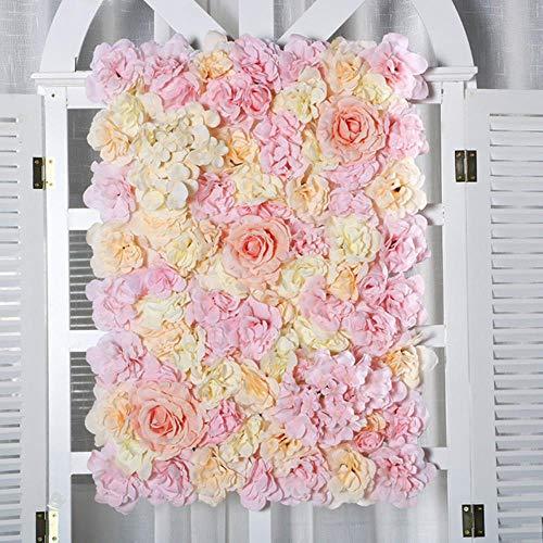 LIMMC 40x60cm Pannelli di Parete di Fiori Artificiali di Rose Artificiali di Seta per Decorazioni Romantico Matrimonio Foto Sfondo scenografia Spettacolo teatrale Fai da Te, Champagne