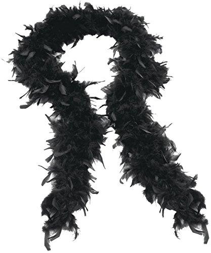 SHATCHI Schwarze Federboa, 60 g, dick, für Junggesellinnenabschied, Kostüm, Flapper-Boas im Stil der 1920er-Jahre, Burlesque-Federn, 180 cm