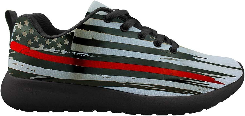 Owaheson Cushioning Sneaker Trail Running shoes Mens Womens Thin Red American Flag