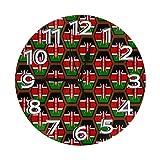 Kenya Flag Honeycomb Pattern 壁掛け時計壁掛け インテリア リビング 子供 おしゃれ 掛け時計 デジタル 無音 電池式 静か