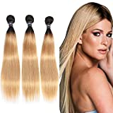 Ombre Two Tone Honey Blonde Straight Hair 3 Bundles Long Straight Weave Brazilian Hair Soft Remy Human Hair 300g Full Head 20 22 24 inches