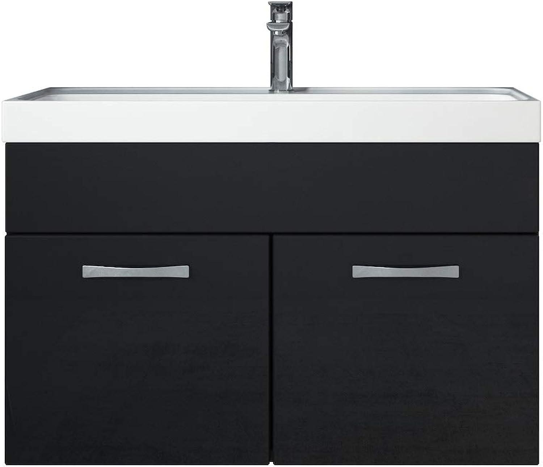 Badezimmer Badmbel Set Paso 01 80 cm Waschbecken Hochglanz Schwarz Fronten - Unterschrank Schrank Waschbecken Waschtisch