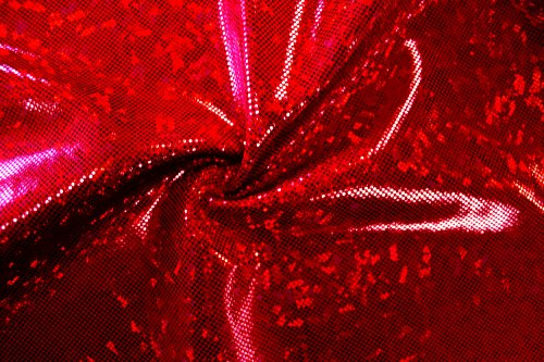 Shattered Glass Hologram-Red/Red- 4-Way Stretch Spandex Fabric for Swimwear, Gymnastics, Dance etc.