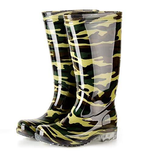 SFGSA Man Knee High Rubber Rainboots Camo PVC Waterproof Rubber Boots for Garden Boot Man Rain Footwear,Colour3,41