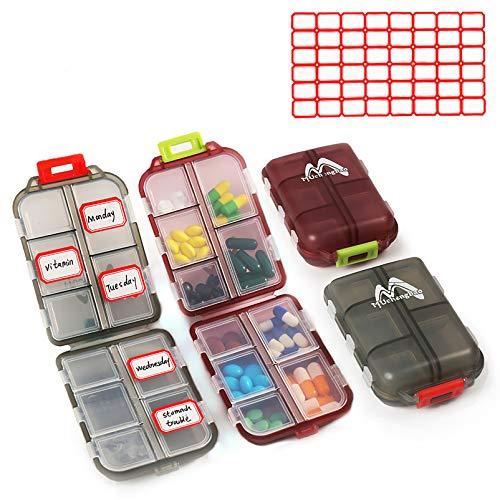 2er Pack Pillenetui Tragbarer kleiner 7-Tage-Pillen-Organizer-Pillenbox-Spender für Geldbörsenfächer Container Medicine Box von Muchengbao (Grau + Dunkelrot)
