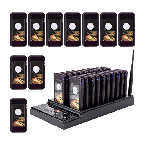 Retekess T112 Pager Systems for Restaurants Wireless Calling System Restaurant Pager System with 30 Pcs Coaster Pagers 999-channel Keypad Call Buttons System and Charging Dock Transmitter(30 Pagers)