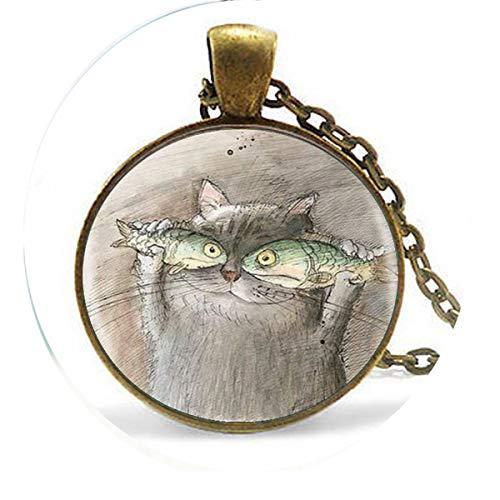 bab fhot sale, süßer Katzenfisch, ein Porträt, niedlicher Glas-Anhänger, Halskette mit Bibel-Zitat