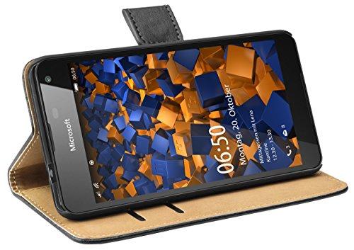 mumbi Tasche Bookstyle Hülle kompatibel mit Microsoft Lumia 650 Hülle Handytasche Hülle Wallet, schwarz