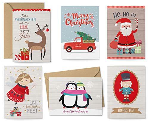 KuschelICH 12er Weihnachtskarten-Set - 8 Postkarten, 4 Klappkarten mit Umschlag - Grußkarten 6 unterschiedliche Weihnachtsmotive je 2 Stück (Classic)