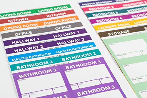 """Large Home Moving Labels - LARGE KIT - 360 Color Coded Labels, 4 Bedroom House, 1 Blank Set, Attention and Priority Labels, Size 4"""" x 3.33"""", By Well Planned Move Photo #4"""