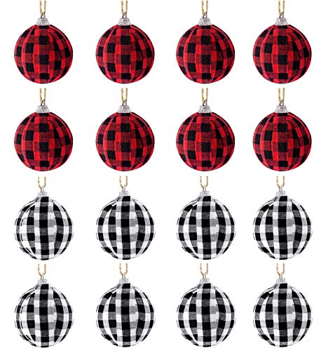 Kobit 16 Pieces Christmas Ball Ornaments Big Buffalo Plaid Ball Ornament Christmas Hanging Ornament Xmas Balls for Holiday Party Christmas Tree Decoration (red and Black)