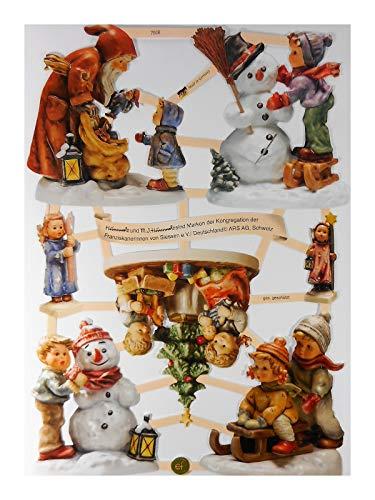 Glanzbilder EF 7506 Hummel Schneemann Weihnachten Schlitten Posiebilder Deko GWI 601