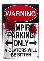 2個 警告!吸血鬼の駐車場のみ。違反者はかまれたブリキのサイン、面白いサイン、警告サイン、屋外のサイン、キッチンのサイン、家の装飾、8インチ×12インチのサインになります| TSC388 | メタルプレート レトロ アメリカン ブリキ 看板