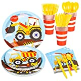 Decorlife Construction Party Plates and Napkins Sets for 16, Cute Kids Truck Birthday Party Supplies, Cups, Knives, Forks, Spoons Included, Total 112pcs