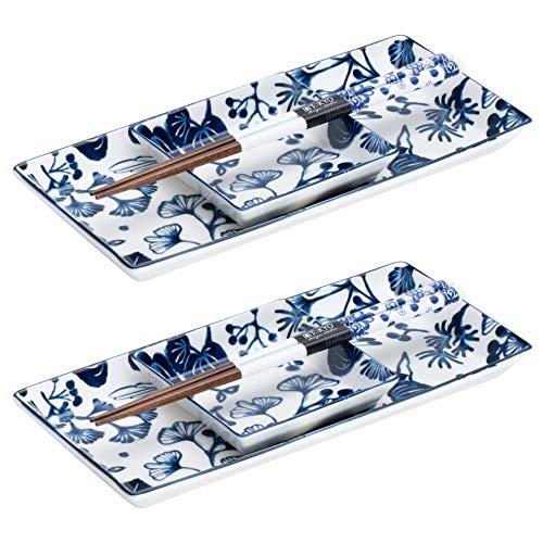 TOKYO Design Studio Flora Japonica - Set da 6 pezzi per sushi, 2 piatti in porcellana di alta qualità con piatti per salsa e bacchette di bambù, scatola regalo decorativa, colore: blu e bianco