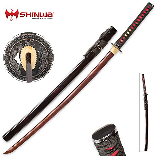 Shinwa Incendiary Handmade Katana Samurai Sword - Exclusive Hand Forged Red and Black Damascus Steel - Genuine Ray Skin - Ornate Tsuba/Guard Design - Fully Functional, Battle Ready