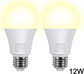 Motion Sensor Light Bulbs, Aukora 12W (100-Watt Equivalent) E26 Motion Activated Dusk to Dawn Security Light Bulb Outdoor/Indoor for Front Door Porch Garage Basement Hallway Closet(Warm White 2 Pack)