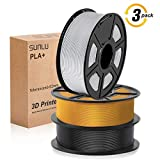 SUNLU 3D filament 1.75, PLA+ Filament 1.75mm, 3KG PLA+ Filament 0.02mm for 3D Printer...