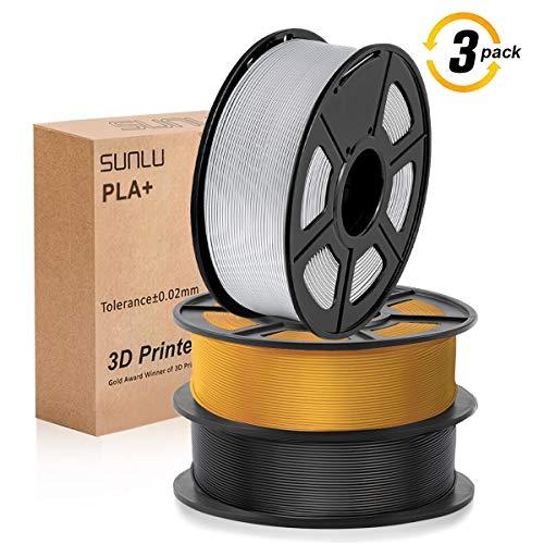 SUNLU 3D filament 1.75, PLA+ Filament 1.75mm, 3KG PLA+ Filament 0.02mm for 3D Printer 3D Pens, Black + LightGold + Silver